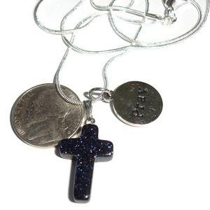 Goldstone Cross Pray Necklace Religious